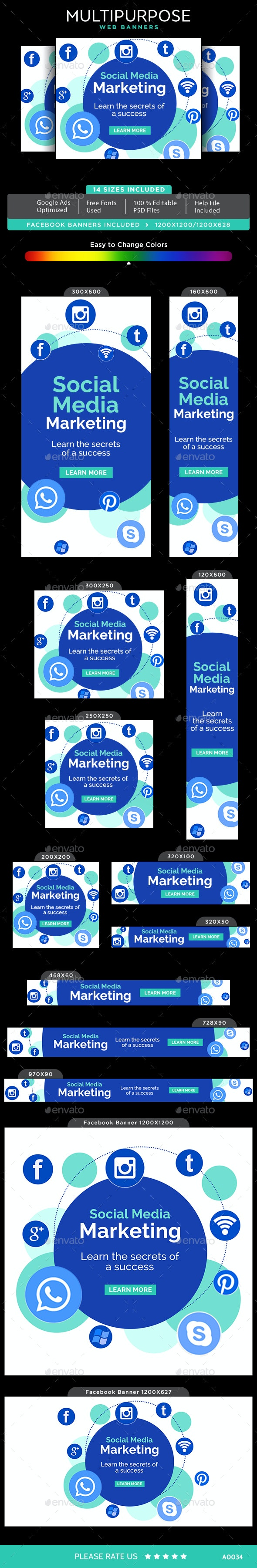 Multipurpose Web Banner Set - Banners & Ads Web Elements
