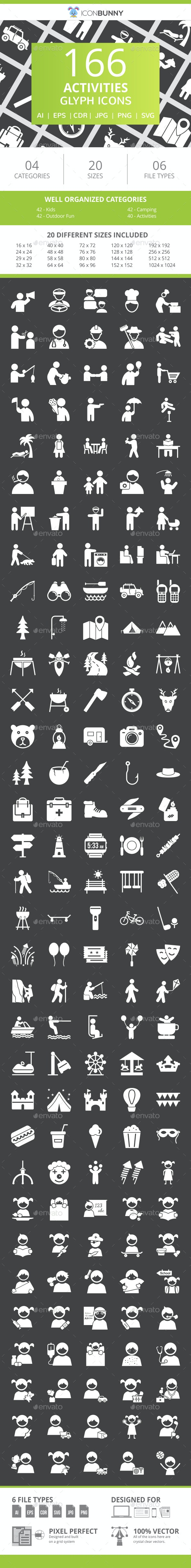 166 Activities Glyph Inverted Icons - Icons