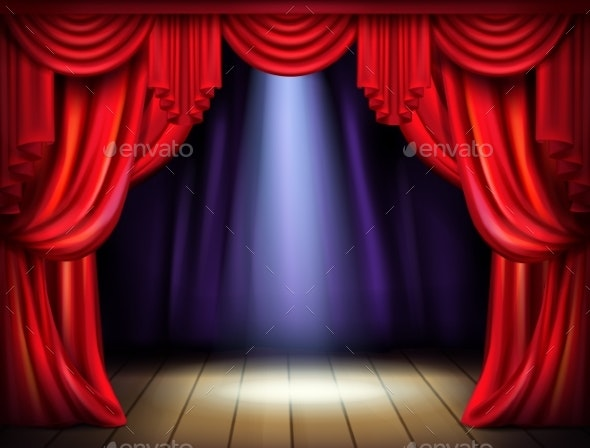 Stage with Opened Red Curtains Realistic Vector - Backgrounds Decorative
