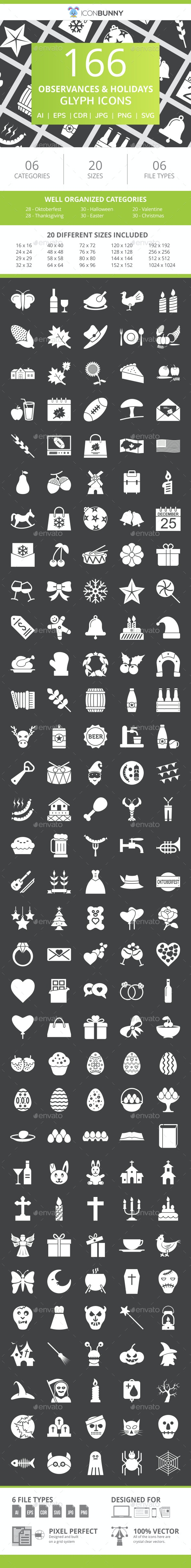 166 Observances & Holiday Glyph Inverted Icons - Icons