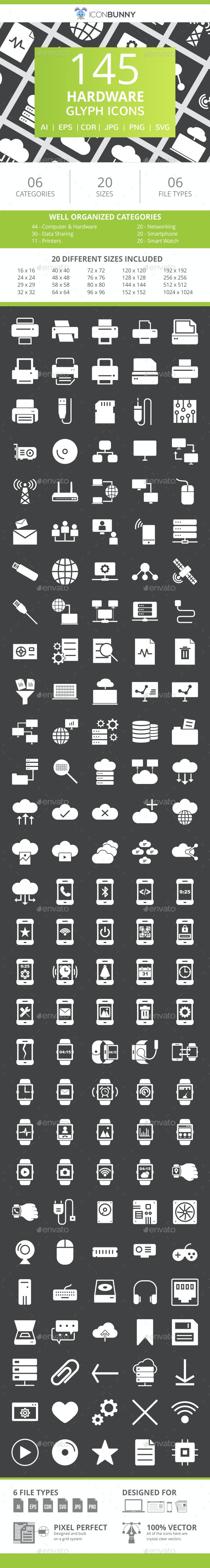 145 Hardware Glyph Inverted Icons - Icons