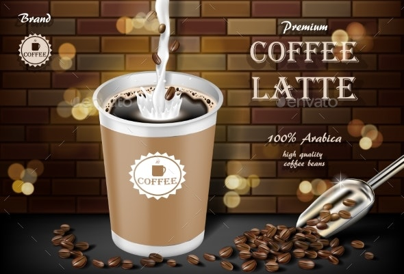 Latte Coffee Cup with Milk Splash and Beans Ads - Food Objects