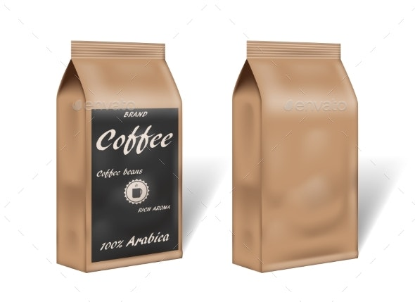 Paper Arabica Coffee Package Design Mock Up - Food Objects