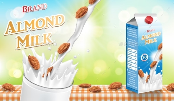 Almond Milk with Splash and Seeds Isolated - Food Objects