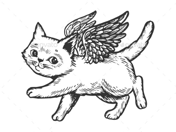 Angel Flying Kitten Engraving Vector - Animals Characters