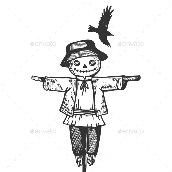 Farm Rural Scarecrow Engraving Vector Illustration - People Characters