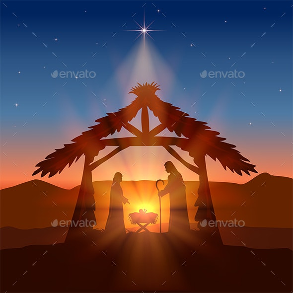 Christian Christmas with Birth of Jesus and Star - Religion Conceptual
