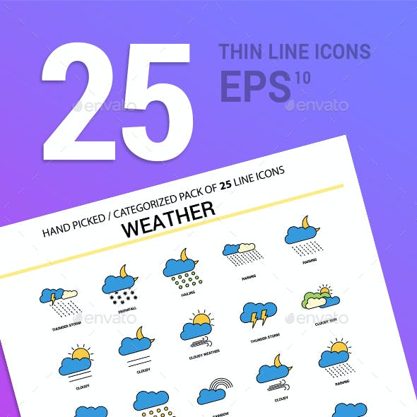 25 Weather Line Filled Icons