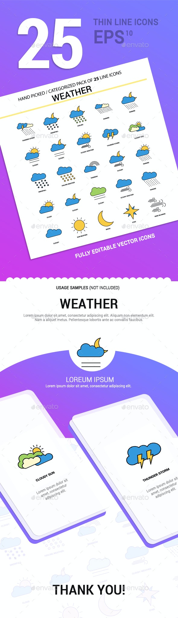 25 Weather Line Filled Icons - Seasonal Icons