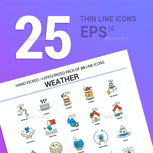 25 Weather Line Filled Icons Pack