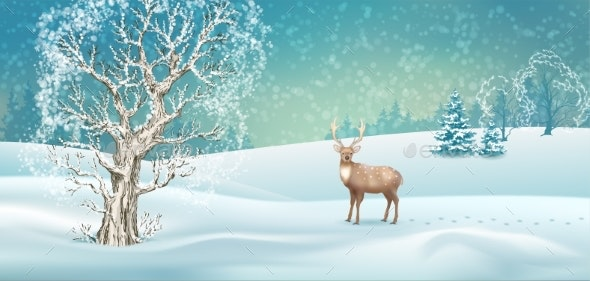 Vector Winter Landscape - Seasons Nature