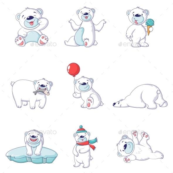 Polar Bear Baby White Icons Set - Animals Characters