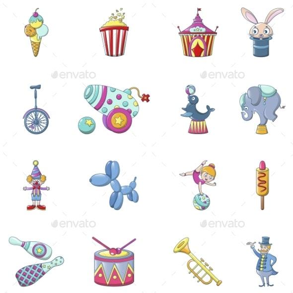 Circus Fun Show Icons Set - Miscellaneous Vectors