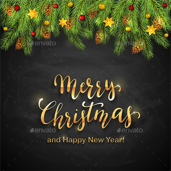 Christmas Lettering on Black Chalkboard Background with Holiday Decorations - Christmas Seasons/Holidays