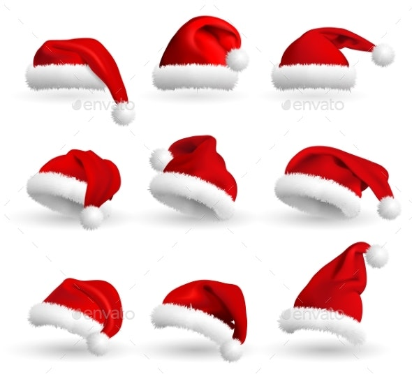 Collection of Red Santa Claus Hats Isolated - Christmas Seasons/Holidays