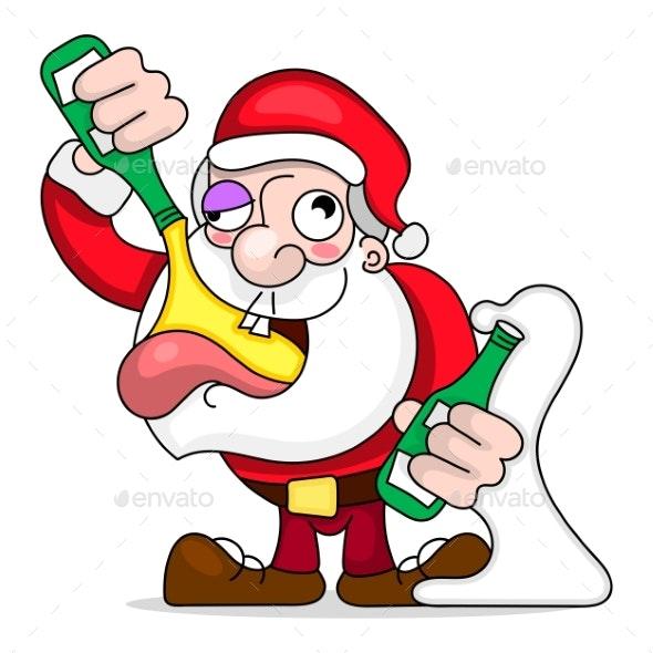 Santa Dancing and Drinking Vector Cartoon - Christmas Seasons/Holidays