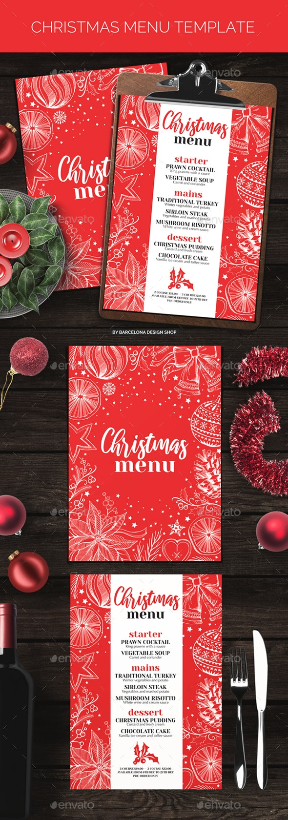 Christmas Party Menu - Food Menus Print Templates