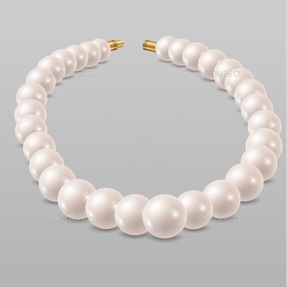 White Pearl Necklace - Man-made Objects Objects
