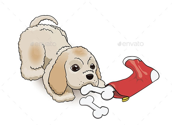 New Year Eve Sock Cocker Spaniel Puppy - Animals Characters