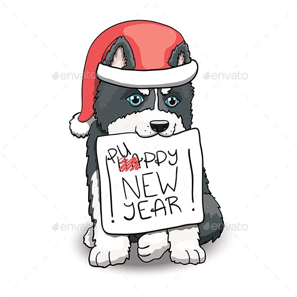 Husky Puppy New Year Sign - Animals Characters