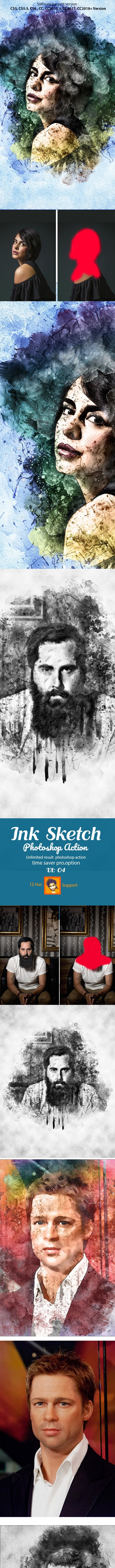 Ink Sketch Photoshop Action - Actions Photoshop