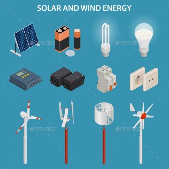 Solar and Wind Energy Generation. Electrical - Technology Conceptual