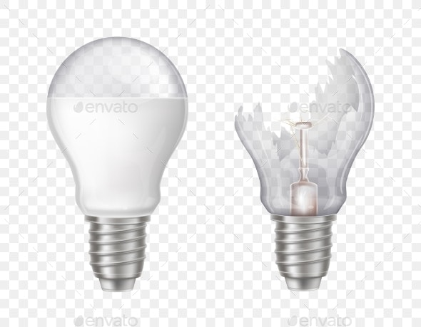 Vector Realistic Electric Lightbulbs - Man-made Objects Objects