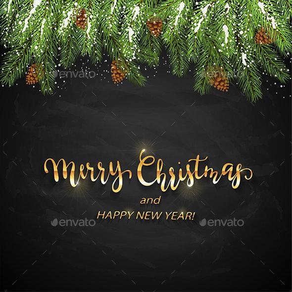 Christmas Lettering.Christmas Lettering On Black Chalkboard Background