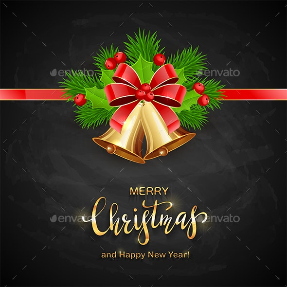 Lettering Merry Christmas with Golden Bells - Christmas Seasons/Holidays