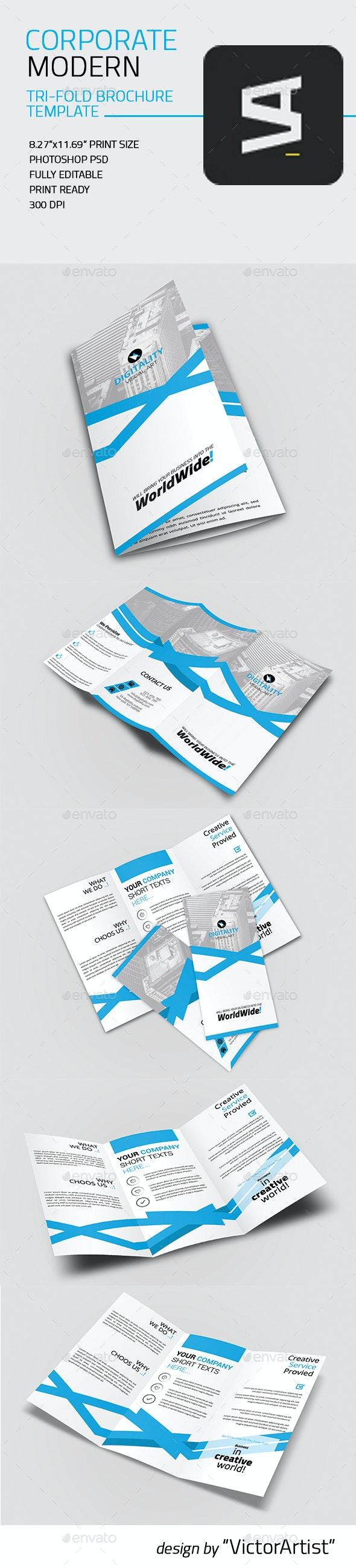 Corporate Modern Tri-Fold Brochure Template - Corporate Brochures