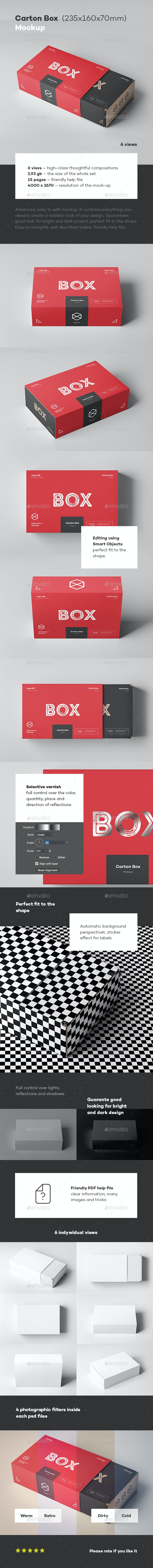Carton Box Mock-up 235x160x70 & Wrapper - Miscellaneous Packaging