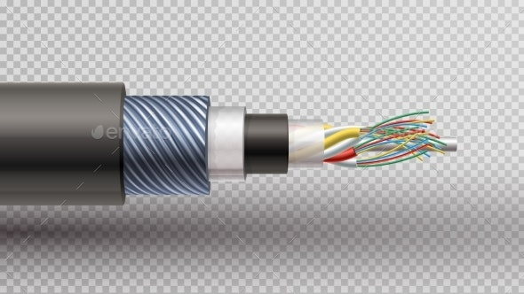 Realistic  Illustration of Fiber Optic - Man-made Objects Objects