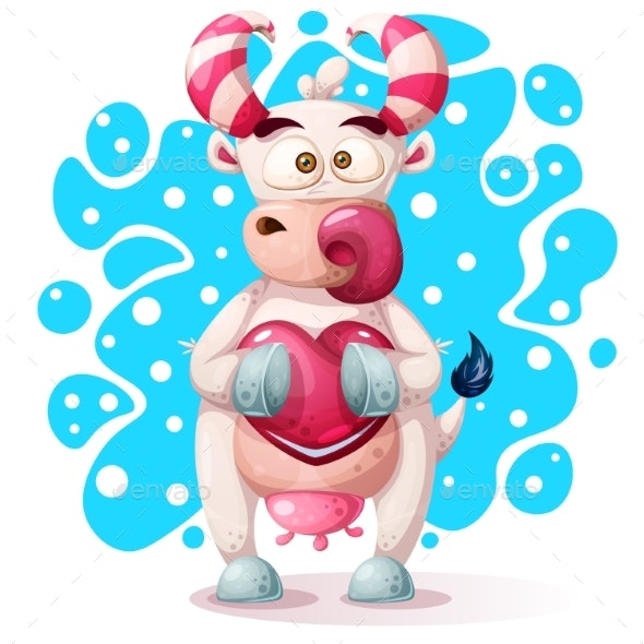 Cow Character with Heart - Animals Characters