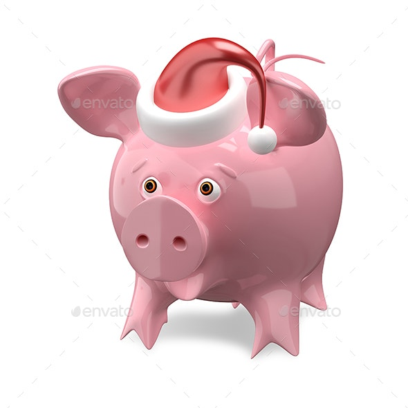 3D Illustration of a New Year Pig in a Cap - Characters 3D Renders