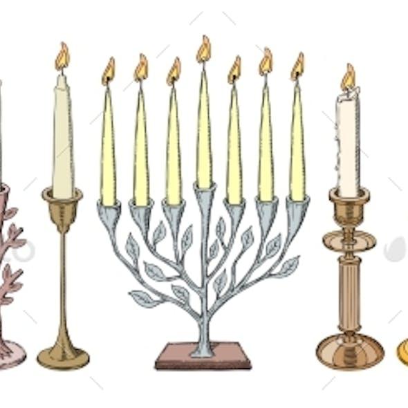 Candlestick Vector Candle Lantern Vintage
