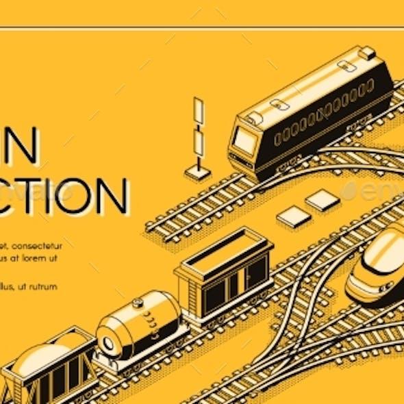 Train Junction Website Isometric Vector Template