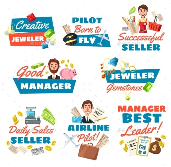Jeweler Seller, Pilot and Businessman - People Characters