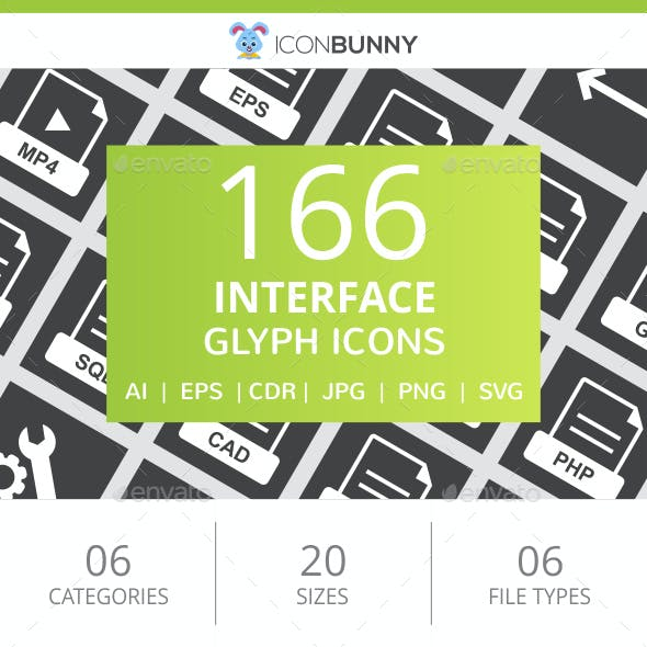 166 Interface Glyph Inverted Icons
