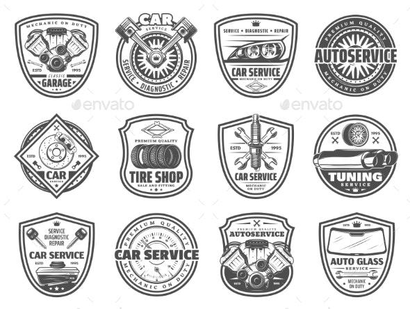 Spare Parts Car Service and Garage Station Icons - Decorative Symbols Decorative