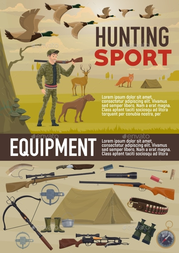 Hunting Sport Equipment and Animals - Sports/Activity Conceptual