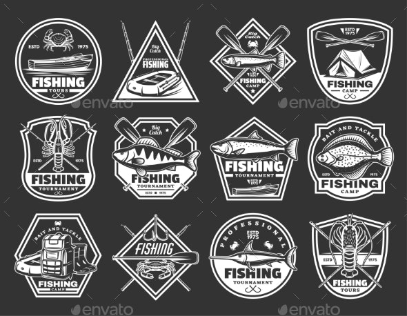 Fishing Port and Fisher Vector Icons - Sports/Activity Conceptual