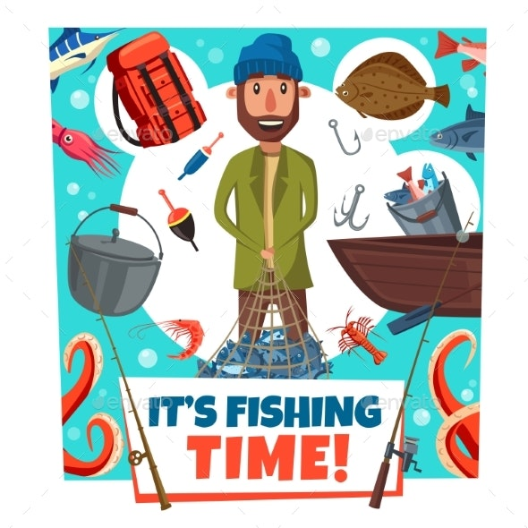 Fishing Time Fisher Man Lures and Tackles Cartoon - Sports/Activity Conceptual
