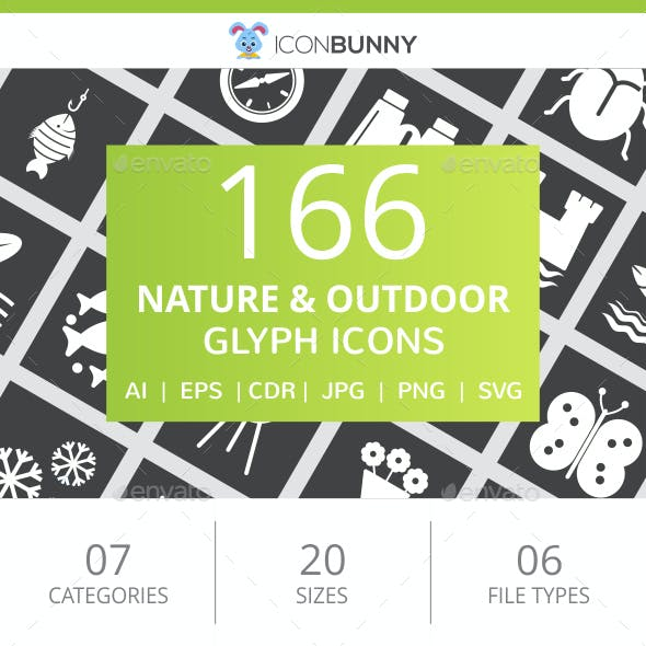 166 Nature & Outdoor Glyph Inverted Icons