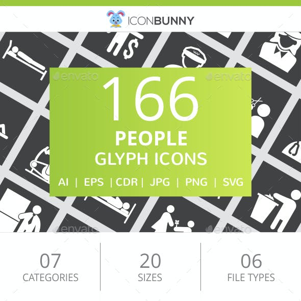 166 People Glyph Inverted Icons