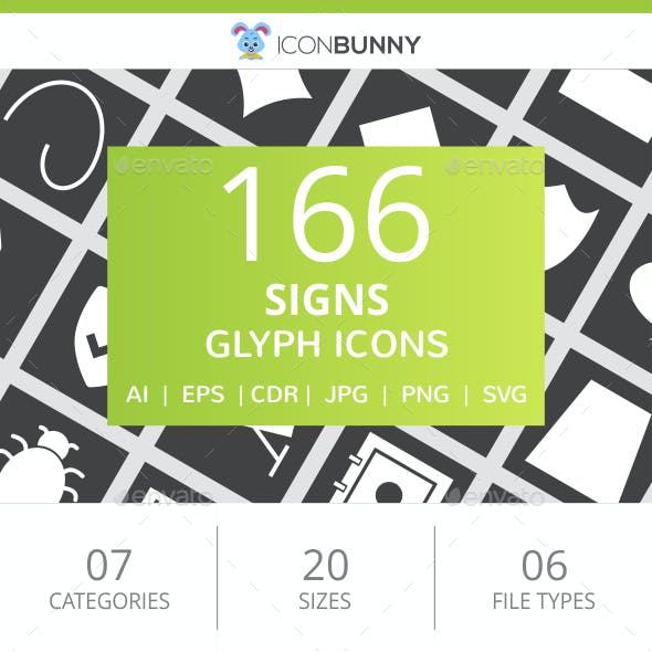 166 Sign Glyph Inverted Icons