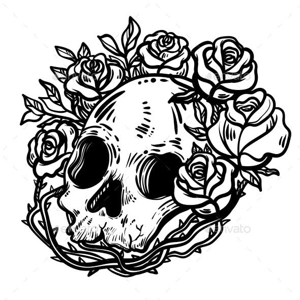 Line Art Skull Illustration - Tattoos Vectors