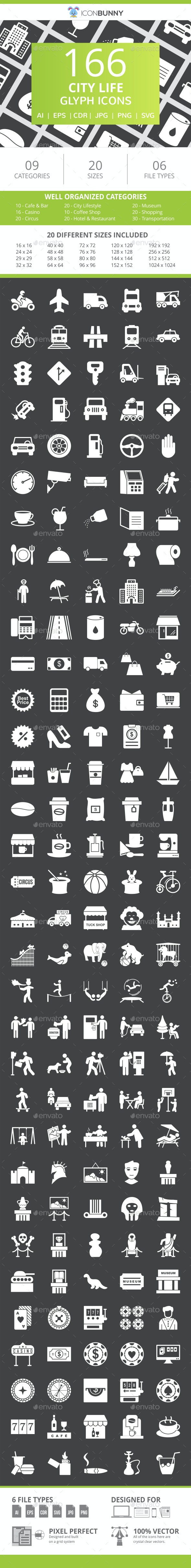 166 City Life Glyph Inverted Icons - Icons