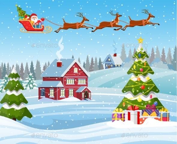 House in Snowy Christmas Landscape - Christmas Seasons/Holidays