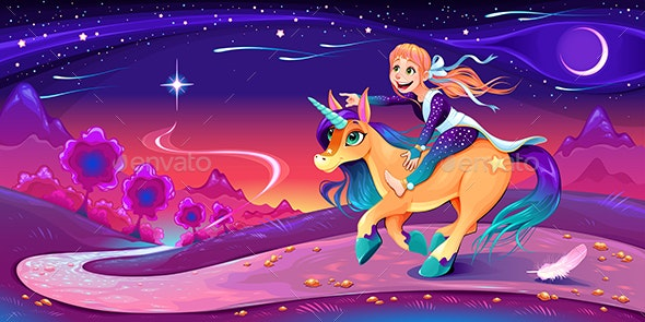 Happy Girl is Riding the Unicorn Following Her Star - Animals Characters