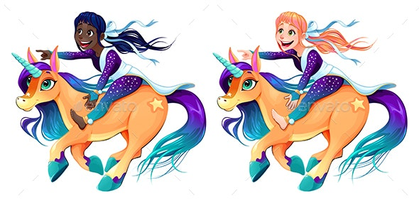 Couple of Girls are Riding the Unicorns - People Characters